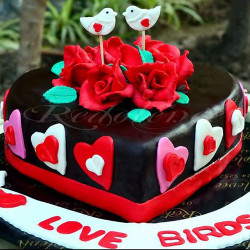 2Lbs Heart Shape Love Birds Theme Cake by Redolence