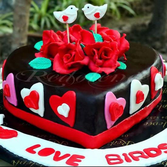 2Lbs Heart Shape Love Birds Theme Cake by Redolence