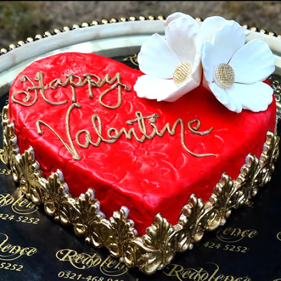 2Lbs Heart Shape Red and Golden Valentine Cake by Redolence