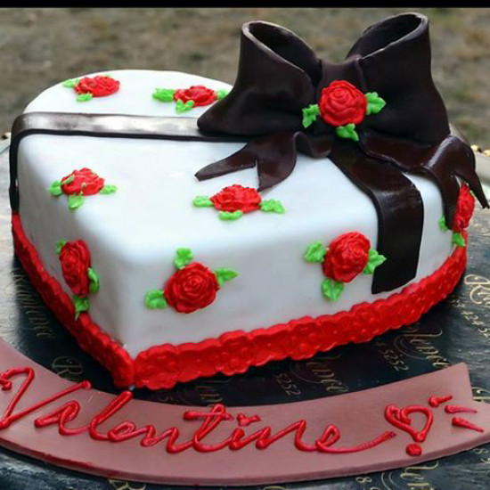 2Lbs Heart Shape Red and White Valentine Cake by Redolence