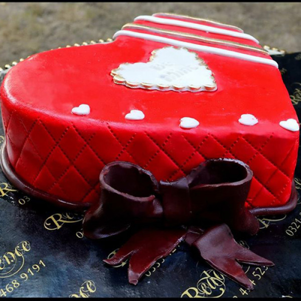 2Lbs Red Heart Shape Cake by Redolence