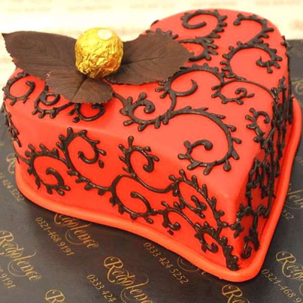 2Lbs Red Heart Pattern Cake by Redolence