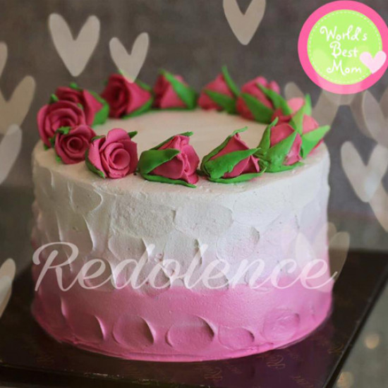 2lbs Pink and White Roses Cake from Redolence Bake Studio