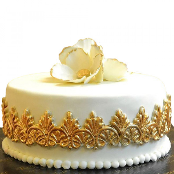 3lbs White and Golden Flower Cake by Redolence