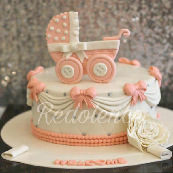 4lbs New Born Pink Baby Girl Cake from Redolence Bake Studio