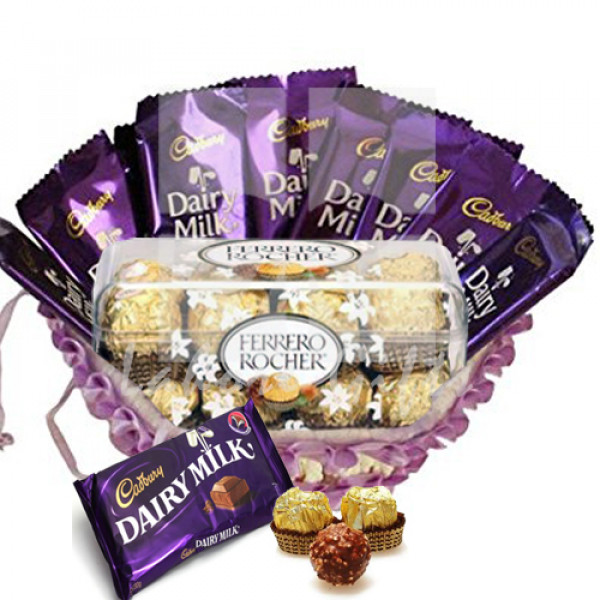 Dairy Milk and Ferrero Basket