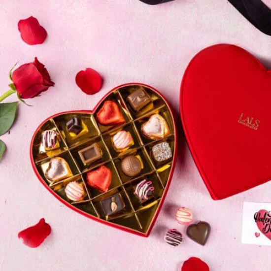 Lals Red Velvet Heart Box