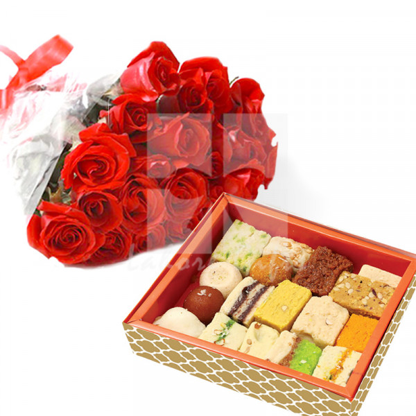 Red Roses with Mithai