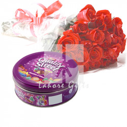 Red Roses and Quality Street Chocolate Toffees.