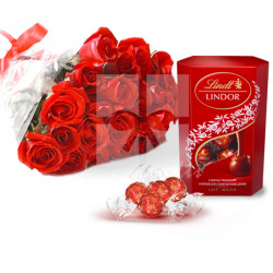 24 Red Roses with Lindt Lindor Chocolates