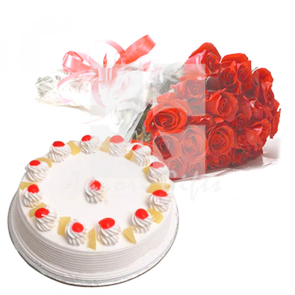 2lbs Bakery Cake and Red Roses
