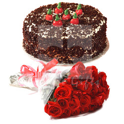 2lbs Kitchen Cuisine Cake and Red Roses