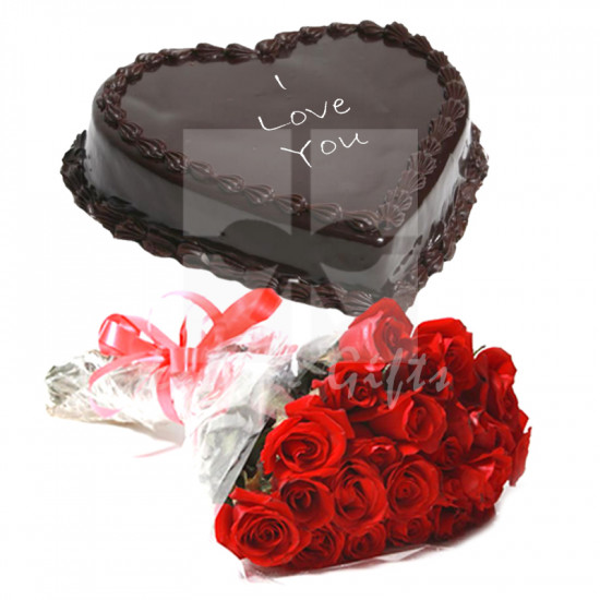 2Lbs Heart Shape Cake with Red Roses