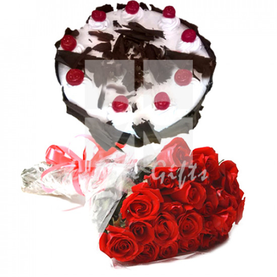 2lbs Pc Hotel Cake and Red Roses
