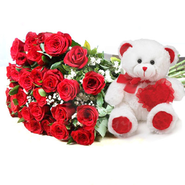 Teddy Bear and 36 Red Roses