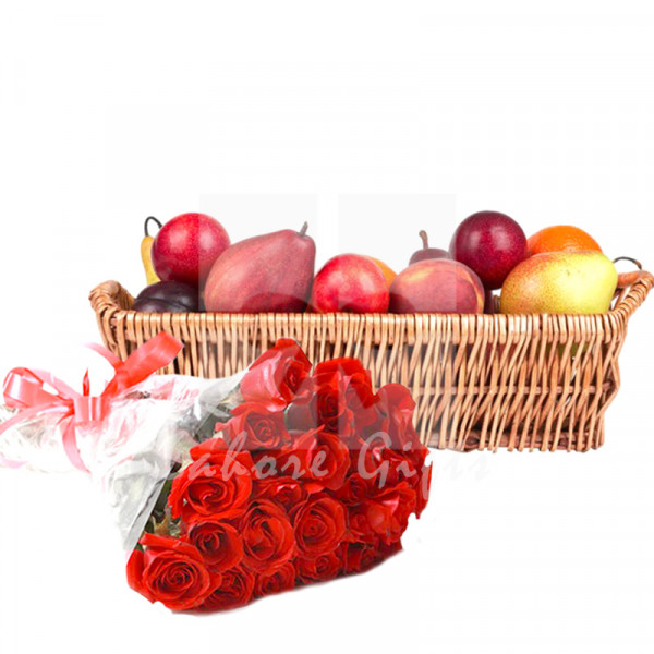 Fruit Basket with Roses