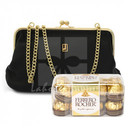 Luxury Evening Black and Gold Leather Bag with Chocolates