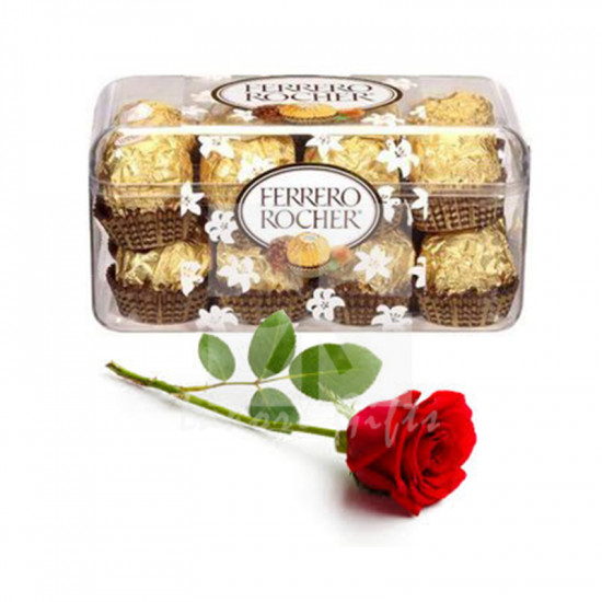 Free Rose with Ferrero Chocolates