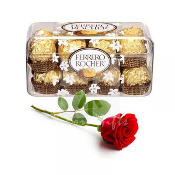 Free Rose with Ferrero Chocolates