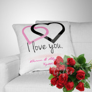 Free Roses with Personalised Couple Cushion