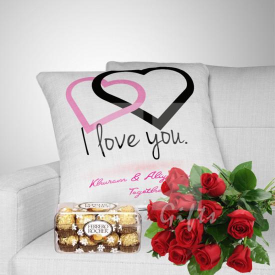 Free Roses, Couple Cushion and Chocolates