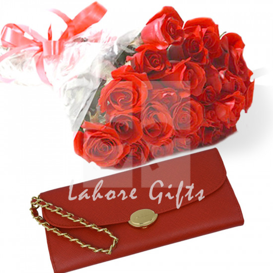 Ladies Wallet with Red Roses