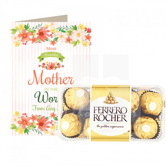 Most Beautiful Mother Card and Chocolates