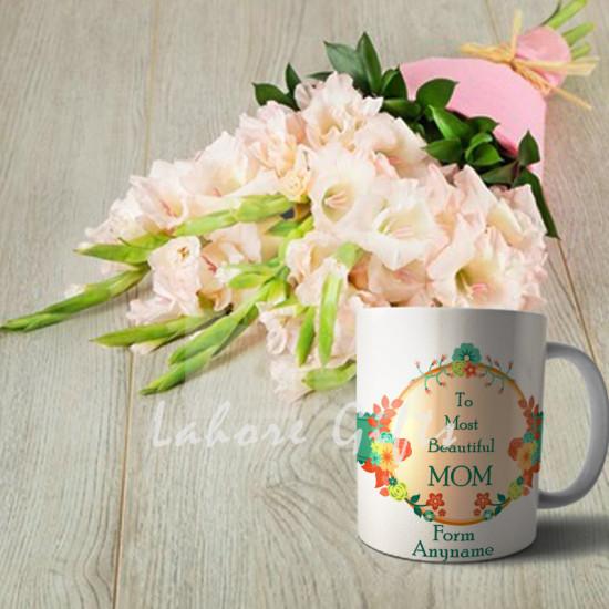 Pink Gladiolus Bouquet with Mom Mug
