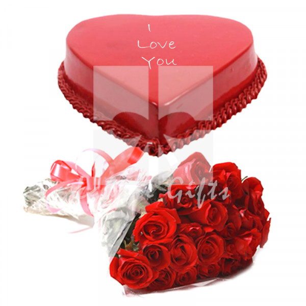 Red Heart Shape Cake with Red Roses
