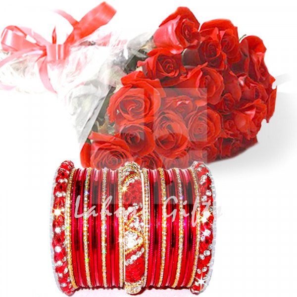 Red Roses with Red Bangles