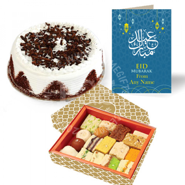Eid Card with Mithai and Cake