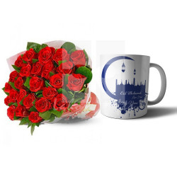 Eid Mug with Red Roses Bouquet