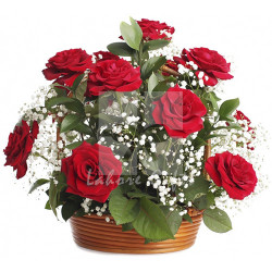 12 Imported Red Rose Basket