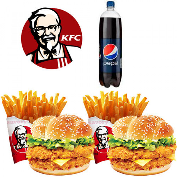 KFC Mighty Zinger Burger Meal Deal for Two Persons