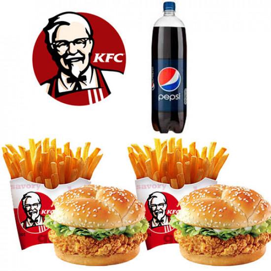 KFC Zinger Burger Meal Deal for 2 Persons