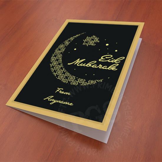 Eid Mubarak Black and Golden Card