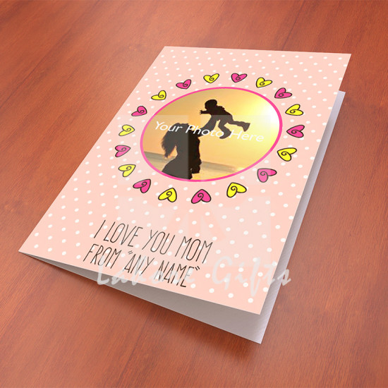 Pink Dotted Photo Card for Mothers Day