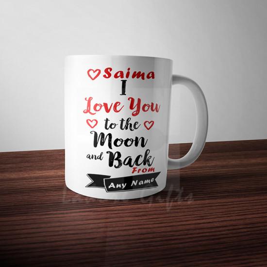 Personalised Love to Moon and Back Mug