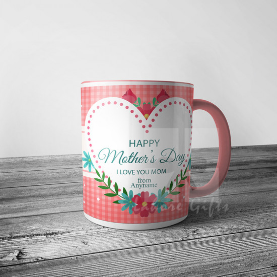 Personalised Pink Check Mug for Mother